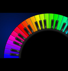 rainbow piano keys on black background for vector image