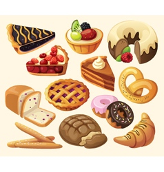 Set of pies and flour products vector image