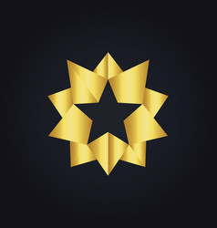 star 3d gold abstract logo vector image vector image