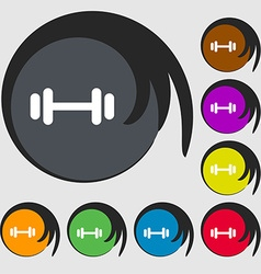 barbell icon sign Symbols on eight colored buttons vector image vector image