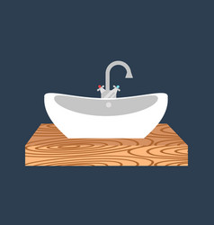 bathroom washbasin icon colored with process water vector image
