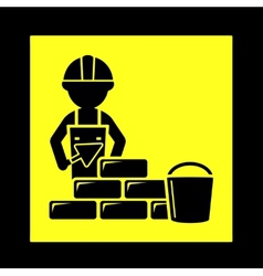 builder with brick wall icon vector image vector image