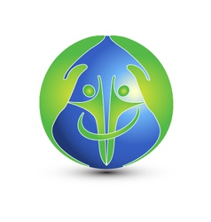 Hands and people protect the world logo vector image