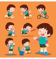 set cute boy many actions vector image vector image