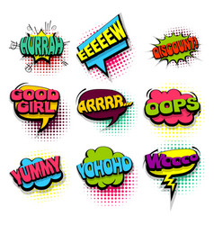set oops yummy colored comics book balloon vector image