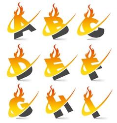Swoosh Flame Alphabet Logo Set 1 vector image vector image