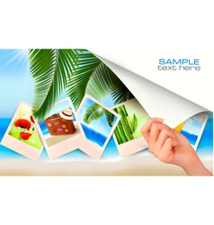 travel background with hand vector image vector image
