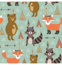 Tribal seamless pattern with cute animals vector image