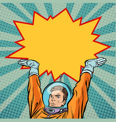 astronaut holding comic bubble vector image vector image