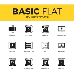 Basic set of PC chip icons vector image vector image
