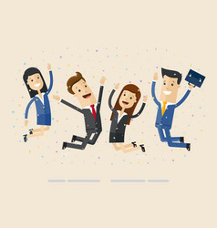 businessmans and womans jump with happiness vector image