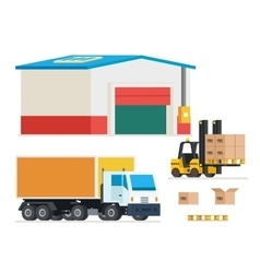 Cargo transportation Loading and unloading trucks vector image vector image
