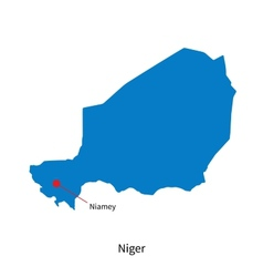 Detailed map of Niger and capital city Niamey vector image