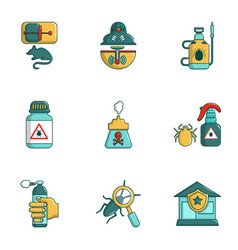 Exterminators of insects icons set cartoon style vector