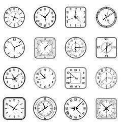 face clock icon flat set vector image vector image