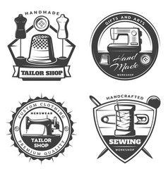 monochrome tailor emblems set vector image vector image