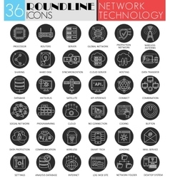 network technology circle white black icon vector image vector image