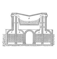 open hearth furnace vintage vector image vector image
