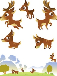 Deer family isolated on white background vector image