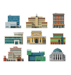 different city public buildings houses set flat vector image