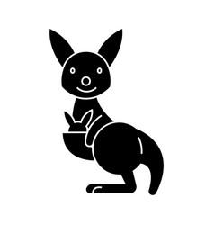 kangaroo cute icon black vector image