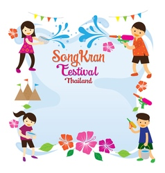 Songkran Festival Kids Playing Water Frame vector image
