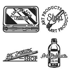 Vintage art products shop emblems vector