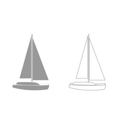 yacht grey set icon vector image