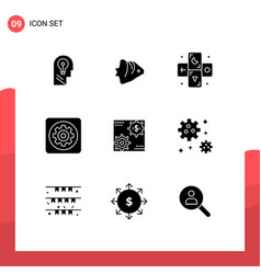 9 solid glyph concept for websites mobile vector