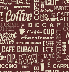 background seamless tile coffee words and vector image