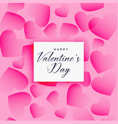 beautiful valentines day hearts pattern background vector image