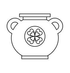 Big cauldron with clover sticker image vector