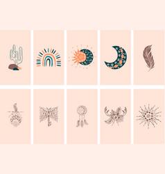 Boho social media cover layout set vector
