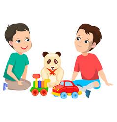 Boys with toys sitting on floor cars and bear vector