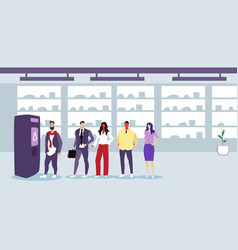 businesspeople standing line queue at self service vector image