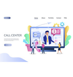 Call center website landing page design vector