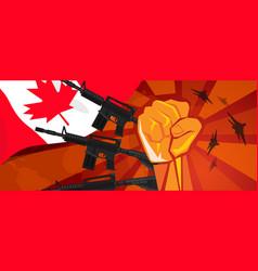 Canada war propaganda hand fist strike with arm vector