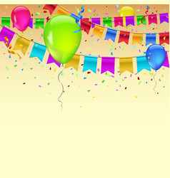 carnival garland with pennants confetti and vector image