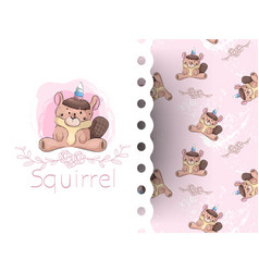 cartoon cute squirrel girl with flower vector image