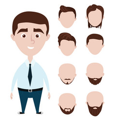 Cartoon funny man with haircuts set vector