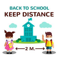 Cartoon student girl and boy and back vector
