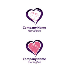Child or baby feet in love symbol - concept vector