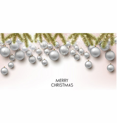 christmas background with balls white xmas vector image