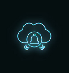 cloud computing bells neon icon web development vector image