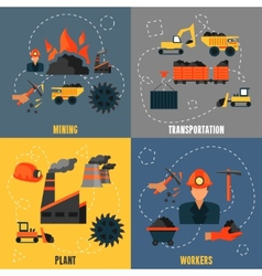 Coal industry flat set vector
