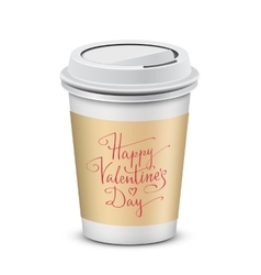 Coffee cup with Happy Valentines Day vector image