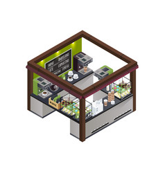 coffee kiosk isometric composition vector image