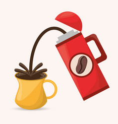 Coffee thermos cup drink hot vector