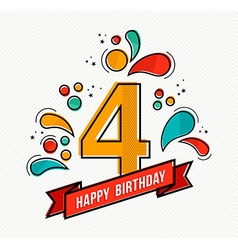 Colorful happy birthday number 4 flat line design vector