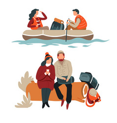 couple hiking hikers in boat and sitting on log vector image